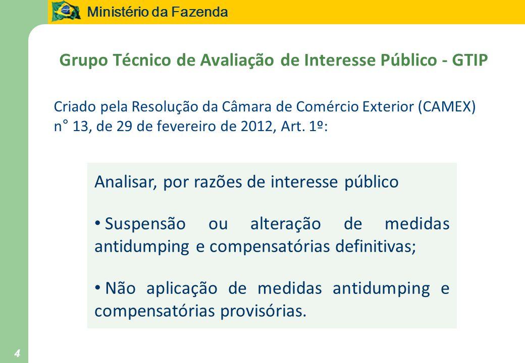 Ministério da Fazenda 4 Grupo Técnico de Avaliação de Interesse Público - GTIP Criado pela Resolução da Câmara de Comércio Exterior (CAMEX) n° 13, de 29 de fevereiro de 2012, Art.