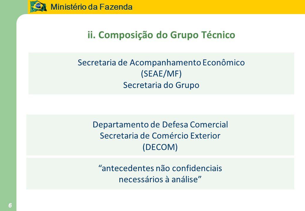 Ministério da Fazenda 6 ii. Composição do Grupo Técnico Departamento de Defesa Comercial Secretaria de Comércio Exterior (DECOM) antecedentes não conf