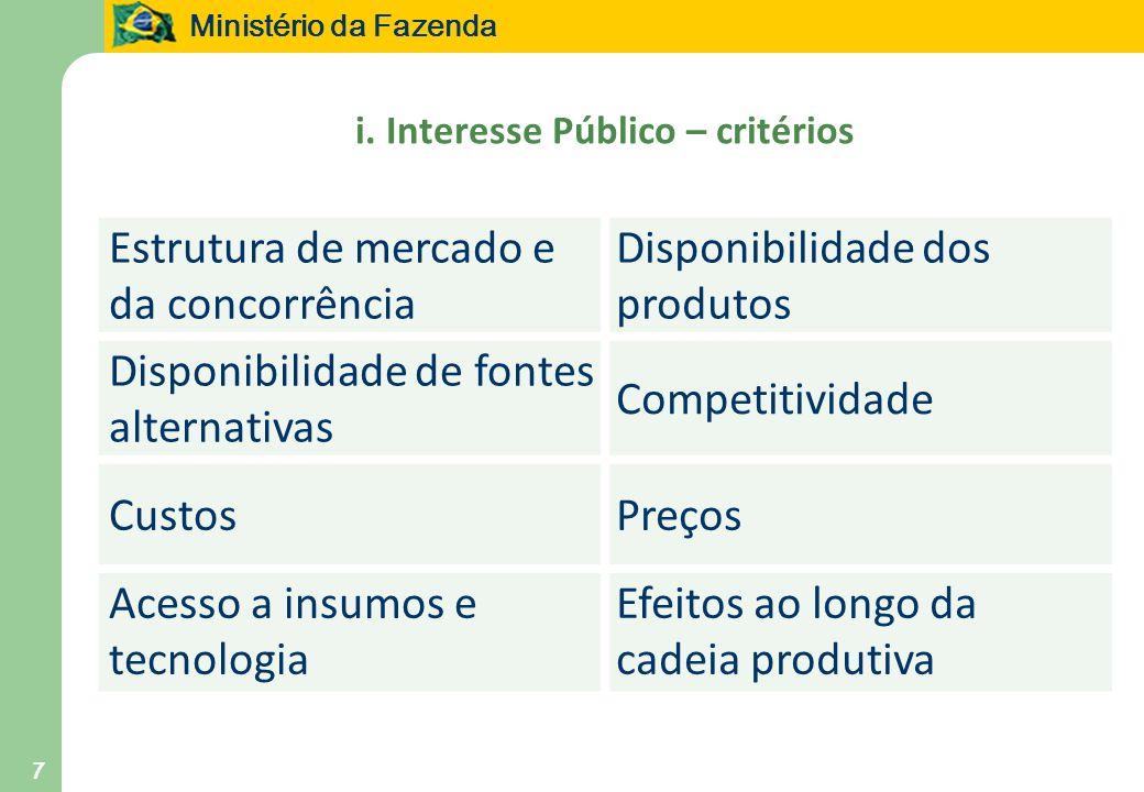 Ministério da Fazenda 7 i. Interesse Público – critérios Estrutura de mercado e da concorrência Disponibilidade dos produtos Disponibilidade de fontes