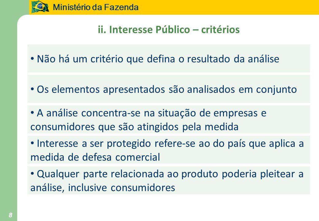 Ministério da Fazenda 8 ii. Interesse Público – critérios Não há um critério que defina o resultado da análise Os elementos apresentados são analisado