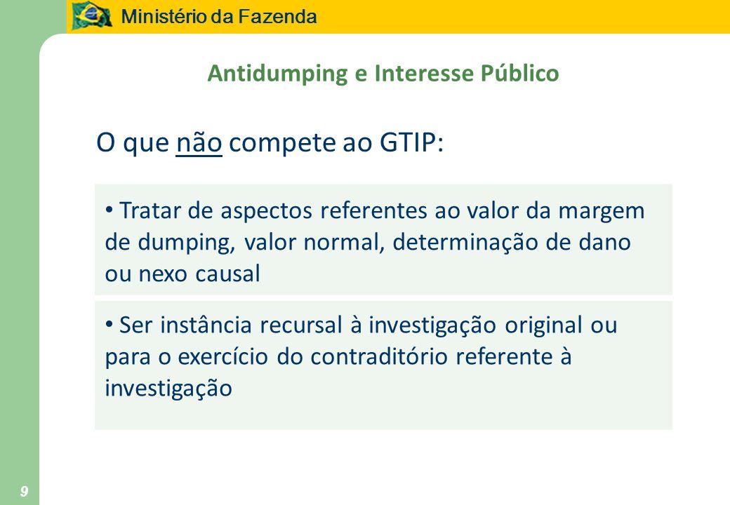 Ministério da Fazenda 9 Antidumping e Interesse Público Tratar de aspectos referentes ao valor da margem de dumping, valor normal, determinação de dan