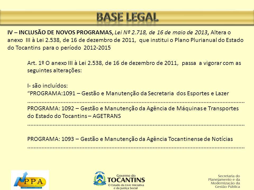 IV – INCLUSÃO DE NOVOS PROGRAMAS, Lei Nº 2.718, de 16 de maio de 2013, Altera o anexo III à Lei 2.538, de 16 de dezembro de 2011, que institui o Plano