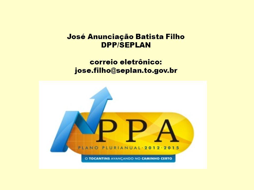 José Anunciação Batista Filho DPP/SEPLAN correio eletrônico: jose.filho@seplan.to.gov.br