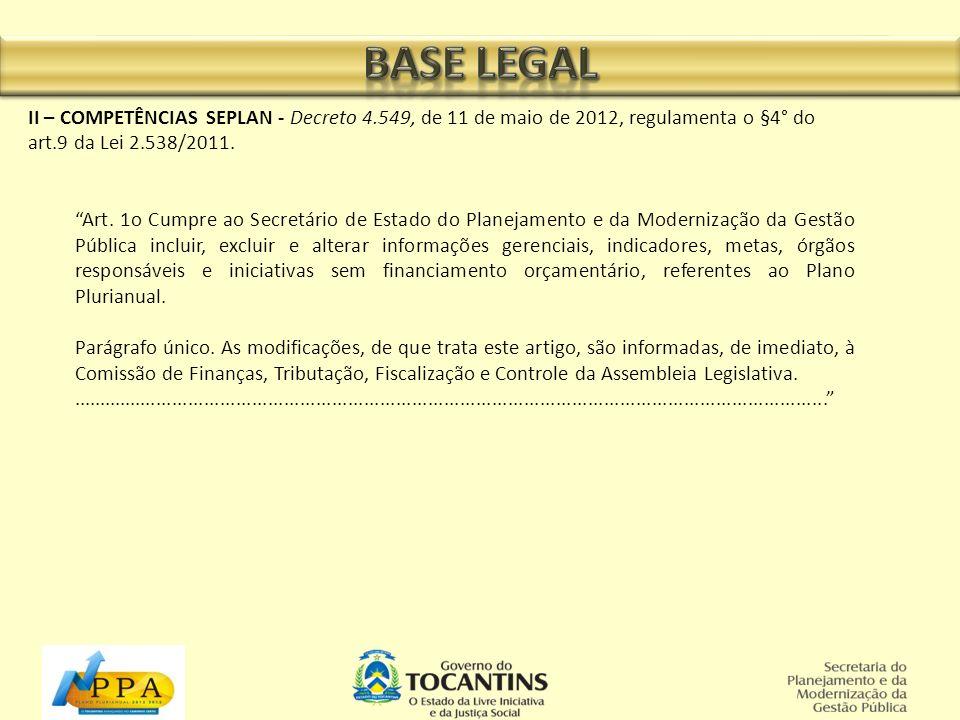 II – COMPETÊNCIAS SEPLAN - Decreto 4.549, de 11 de maio de 2012, regulamenta o §4° do art.9 da Lei 2.538/2011. Art. 1o Cumpre ao Secretário de Estado