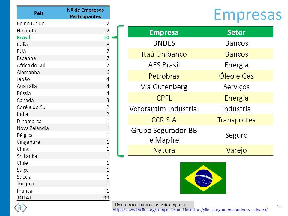 Empresas 10 http://www.theiirc.org/companies-and-investors/pilot-programme-business-network/ Link com a relação da rede de empresas EmpresaSetor BNDES