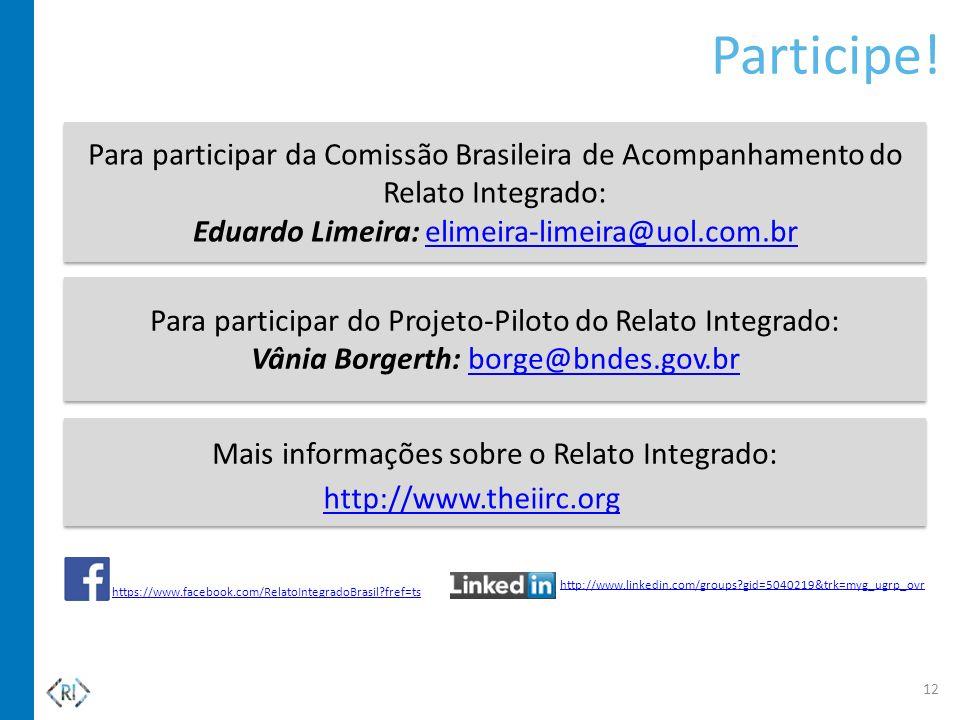 Mais informações sobre o Relato Integrado: Participe! Para participar do Projeto-Piloto do Relato Integrado: Vânia Borgerth: borge@bndes.gov.brborge@b