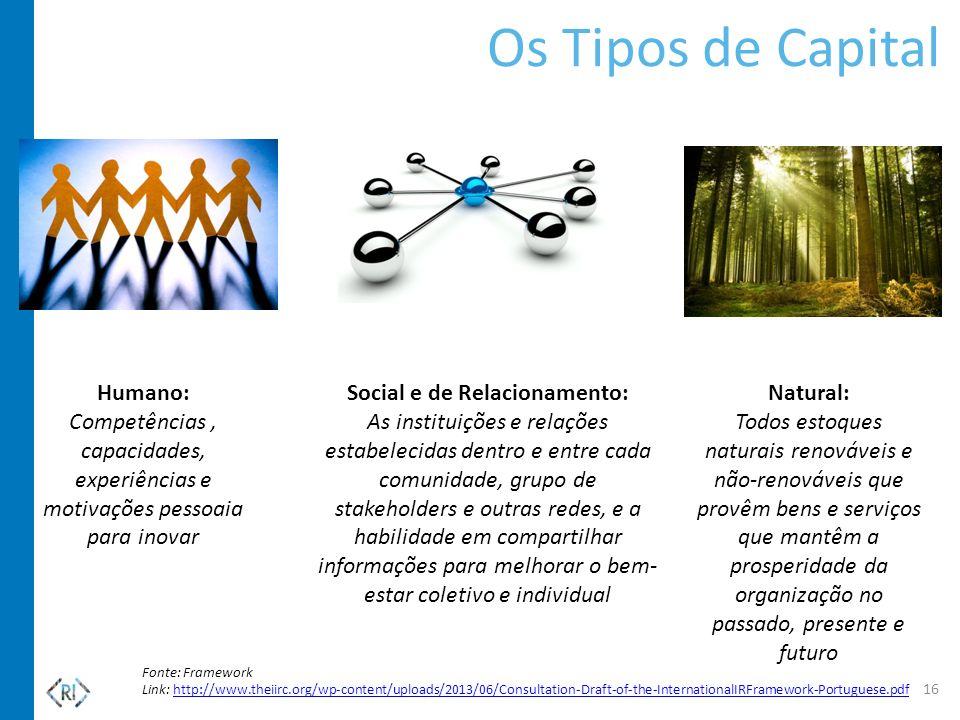 Os Tipos de Capital Natural: Todos estoques naturais renováveis e não-renováveis que provêm bens e serviços que mantêm a prosperidade da organização n