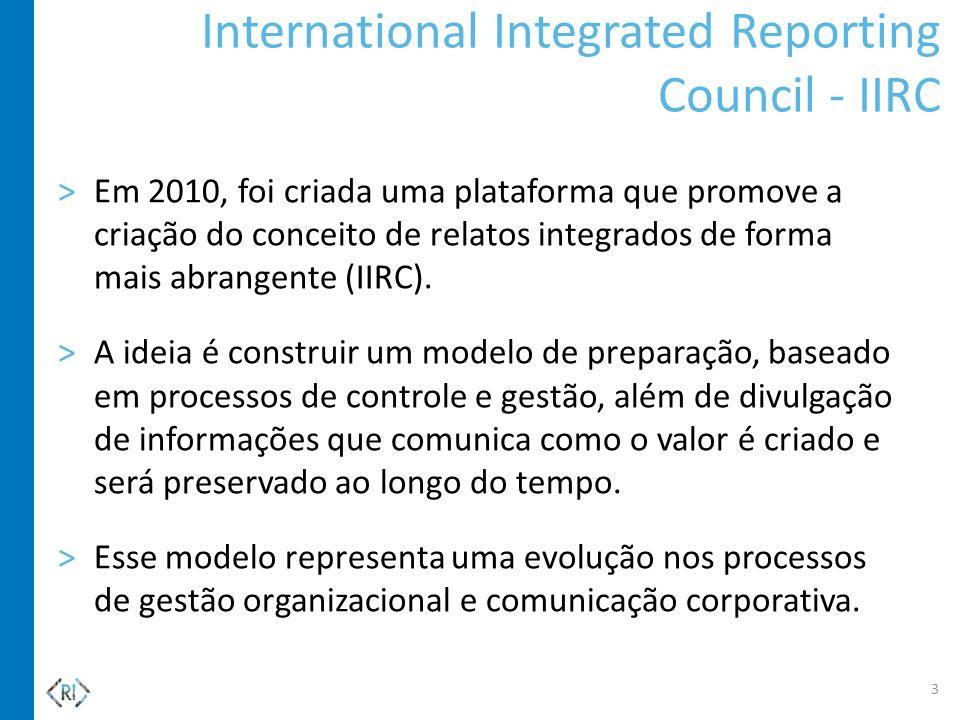 International Integrated Reporting Council - IIRC >Em 2010, foi criada uma plataforma que promove a criação do conceito de relatos integrados de forma