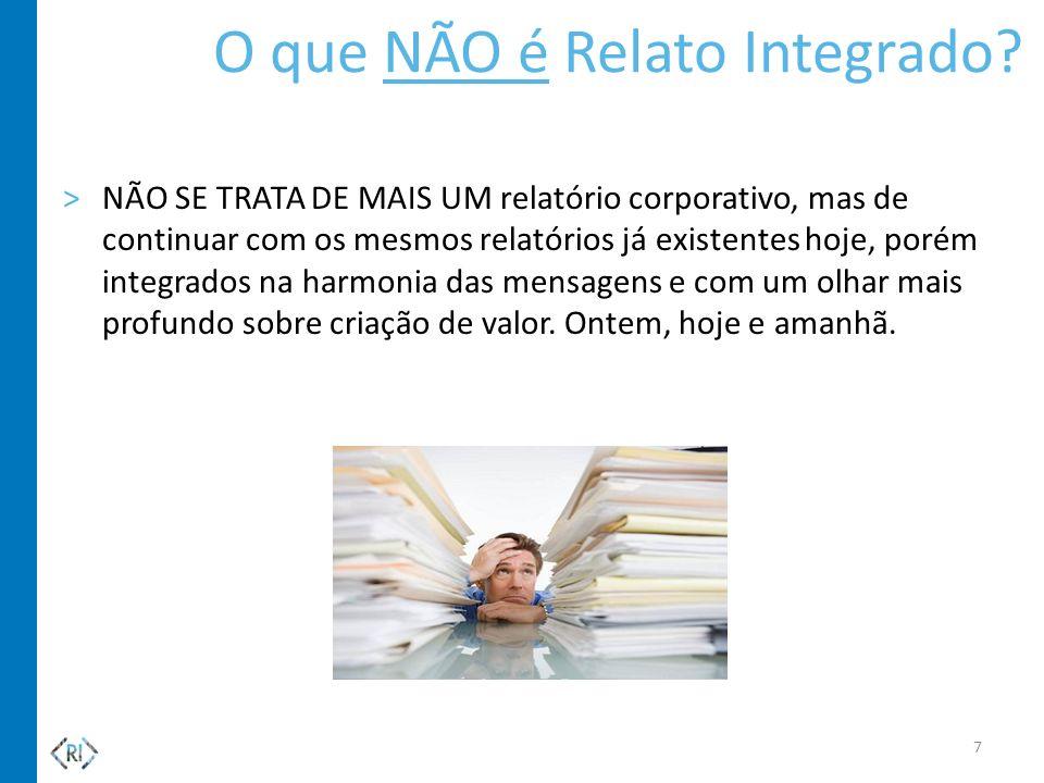 >NÃO SE TRATA DE MAIS UM relatório corporativo, mas de continuar com os mesmos relatórios já existentes hoje, porém integrados na harmonia das mensage