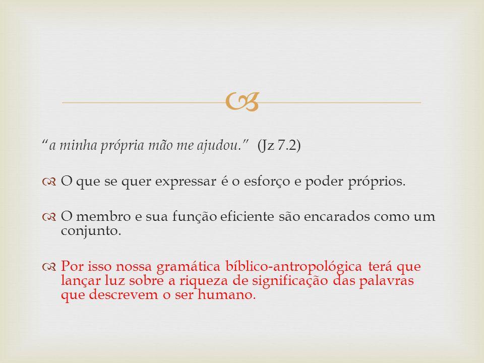 a minha própria mão me ajudou. (Jz 7.2) O que se quer expressar é o esforço e poder próprios. O membro e sua função eficiente são encarados como um co
