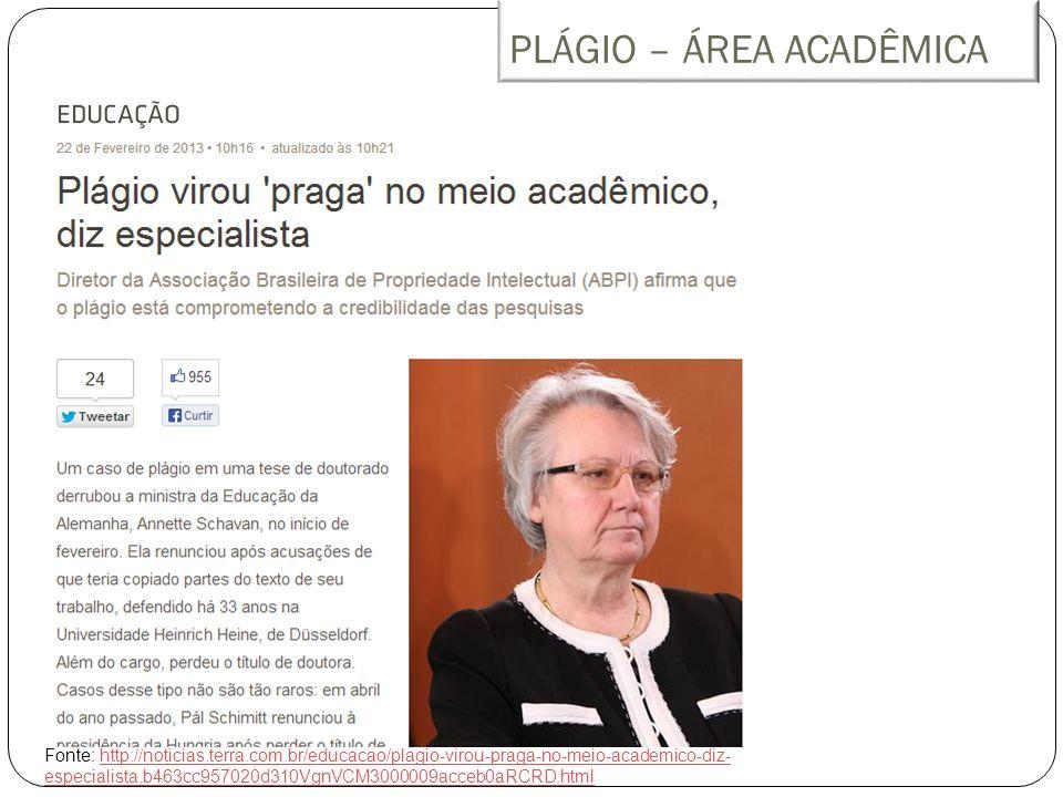 PLÁGIO – ÁREA ACADÊMICA Fonte: http://noticias.terra.com.br/educacao/plagio-virou-praga-no-meio-academico-diz- especialista,b463cc957020d310VgnVCM3000009acceb0aRCRD.htmlhttp://noticias.terra.com.br/educacao/plagio-virou-praga-no-meio-academico-diz- especialista,b463cc957020d310VgnVCM3000009acceb0aRCRD.html