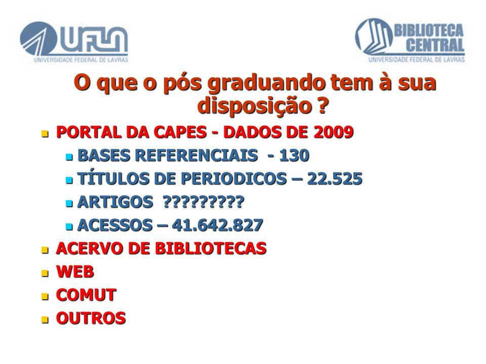 O que o pós graduando tem à sua disposição ? PORTAL DA CAPES - DADOS DE 2009 PORTAL DA CAPES - DADOS DE 2009 BASES REFERENCIAIS - 130 BASES REFERENCIA