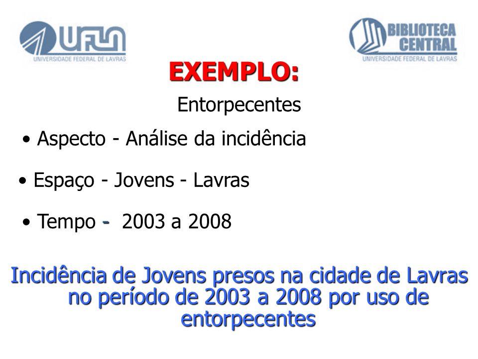 EXEMPLO: Incidência de Jovens presos na cidade de Lavras no período de 2003 a 2008 por uso de entorpecentes Entorpecentes Aspecto - Análise da incidên