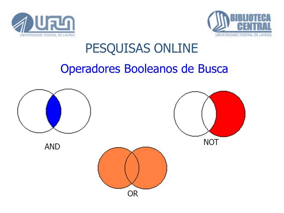PESQUISAS ONLINE Operadores Booleanos de Busca AND OR NOT