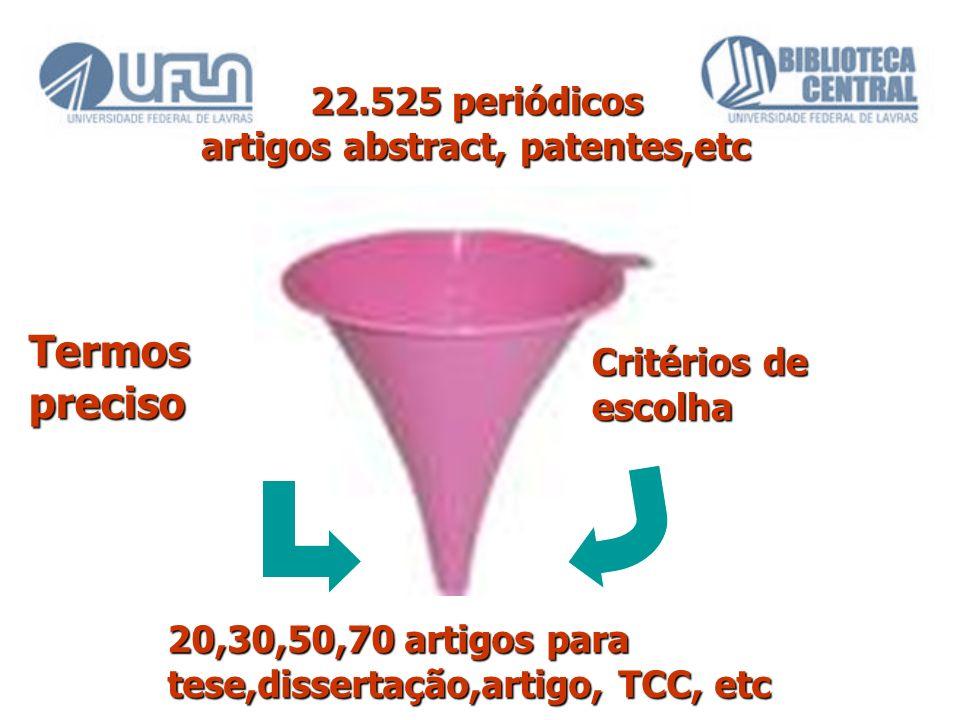 22.525 periódicos artigos abstract, patentes,etc 20,30,50,70 artigos para tese,dissertação,artigo, TCC, etc Critérios de escolha Termos preciso