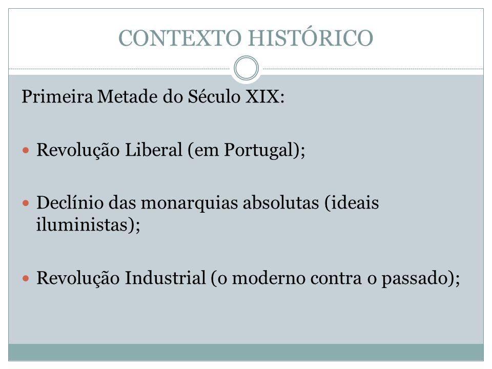 CONTEXTO HISTÓRICO Primeira Metade do Século XIX: Revolução Liberal (em Portugal); Declínio das monarquias absolutas (ideais iluministas); Revolução I