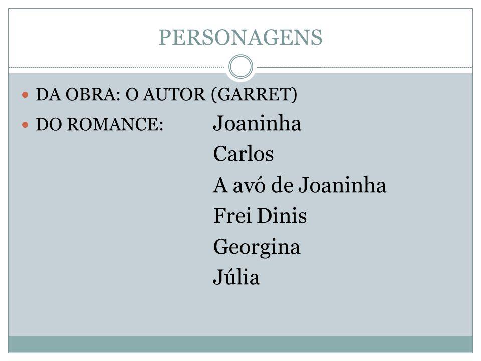 PERSONAGENS DA OBRA: O AUTOR (GARRET) DO ROMANCE: Joaninha Carlos A avó de Joaninha Frei Dinis Georgina Júlia