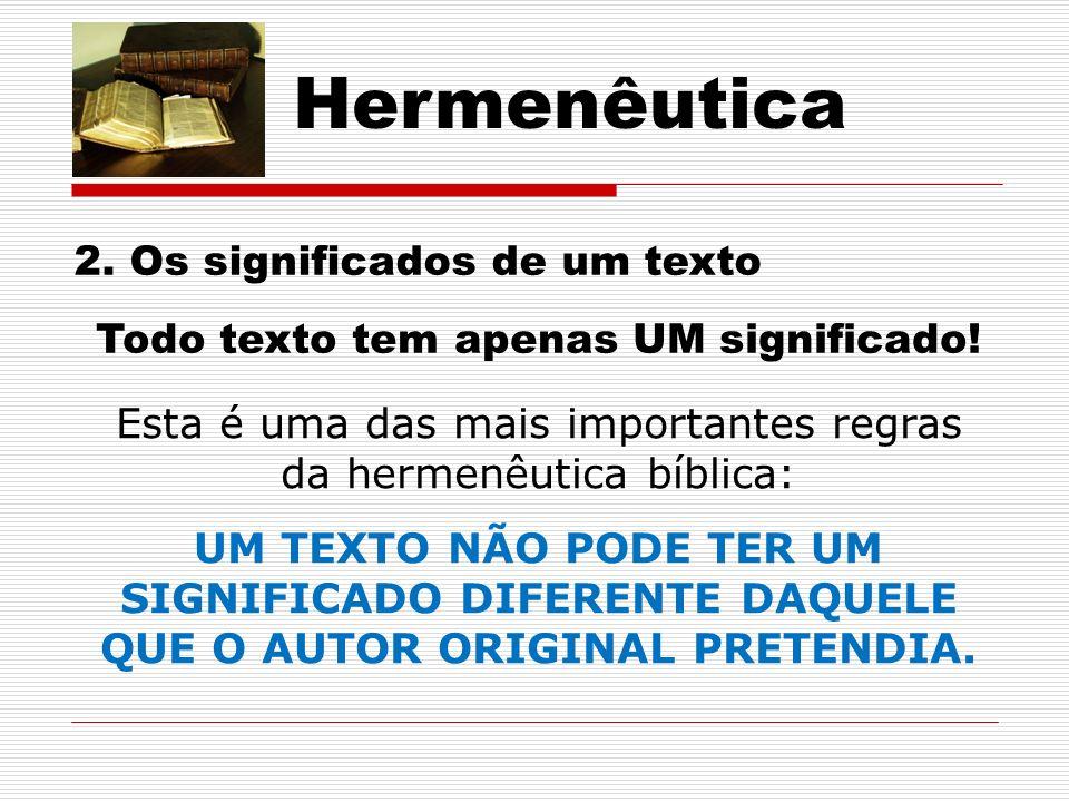 Hermenêutica 2.Os significados de um texto Todo texto tem apenas UM significado.