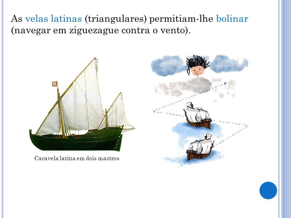 As velas latinas (triangulares) permitiam-lhe bolinar (navegar em ziguezague contra o vento). Caravela latina em dois mastros
