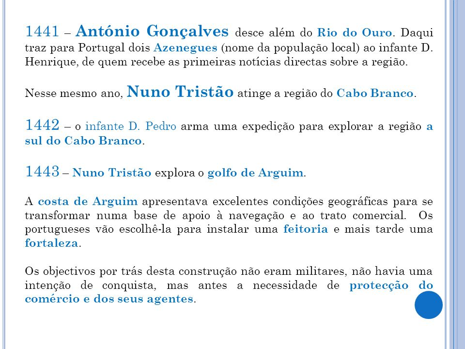 1441 – António Gonçalves desce além do Rio do Ouro. Daqui traz para Portugal dois Azenegues (nome da população local) ao infante D. Henrique, de quem