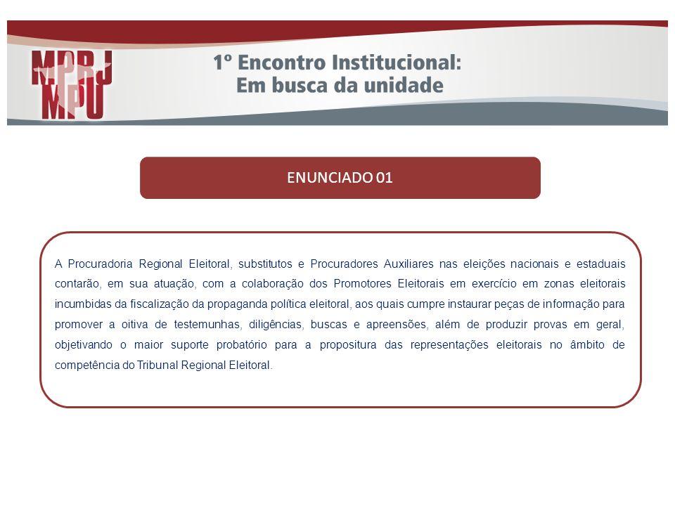 ENUNCIADO 01 A Procuradoria Regional Eleitoral, substitutos e Procuradores Auxiliares nas eleições nacionais e estaduais contarão, em sua atuação, com