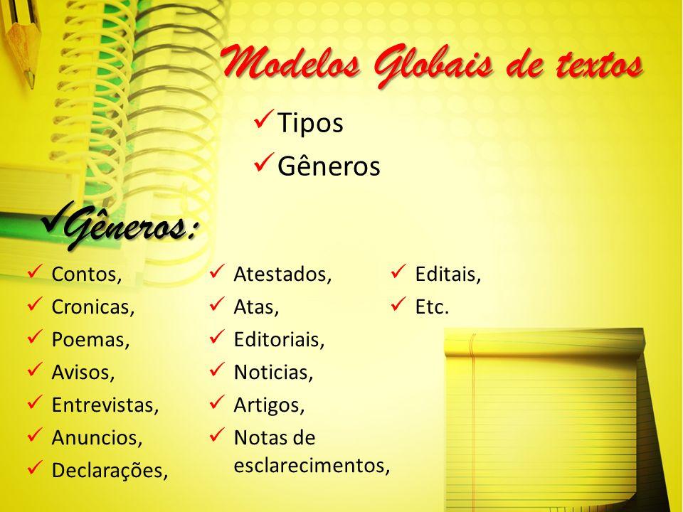 Modelos Globais de textos Tipos Gêneros Gêneros: Gêneros: Contos, Cronicas, Poemas, Avisos, Entrevistas, Anuncios, Declarações, Atestados, Atas, Edito