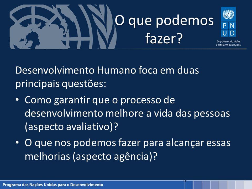 O que podemos fazer? Desenvolvimento Humano foca em duas principais questões: Como garantir que o processo de desenvolvimento melhore a vida das pesso