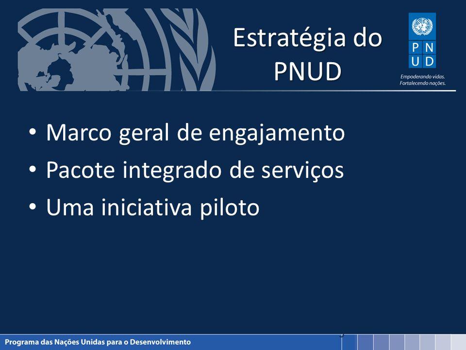 Estratégia do PNUD Marco geral de engajamento Pacote integrado de serviços Uma iniciativa piloto 5