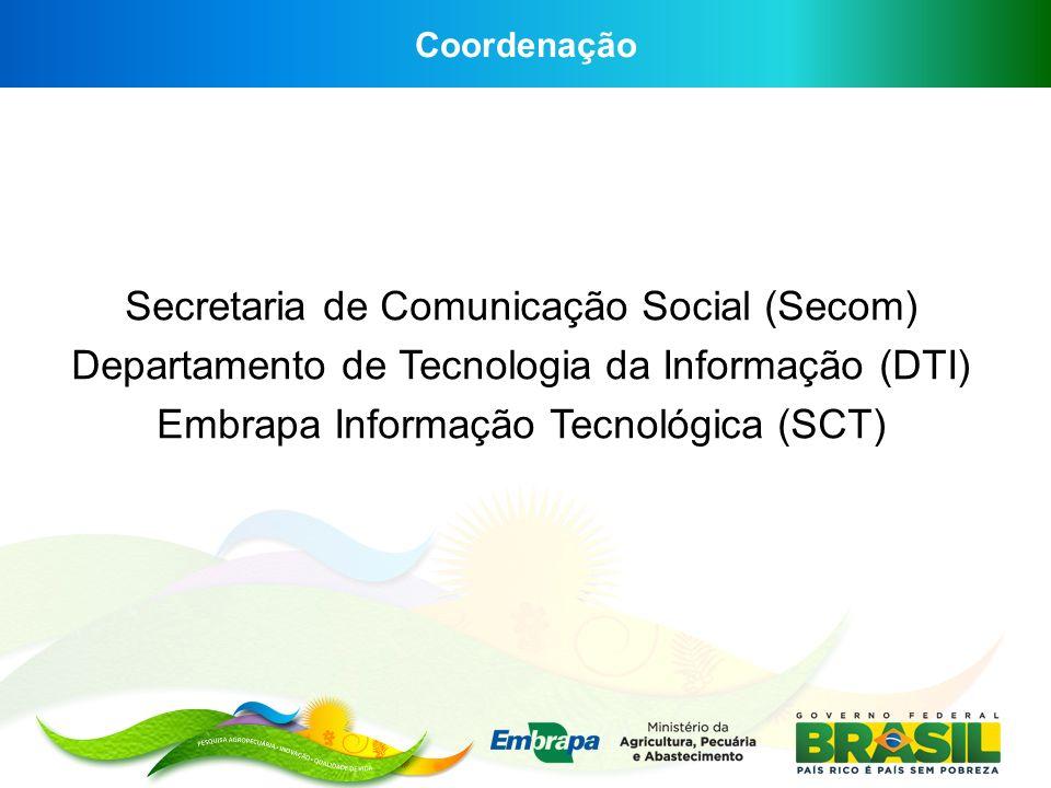 Coordenação Secretaria de Comunicação Social (Secom) Departamento de Tecnologia da Informação (DTI) Embrapa Informação Tecnológica (SCT)