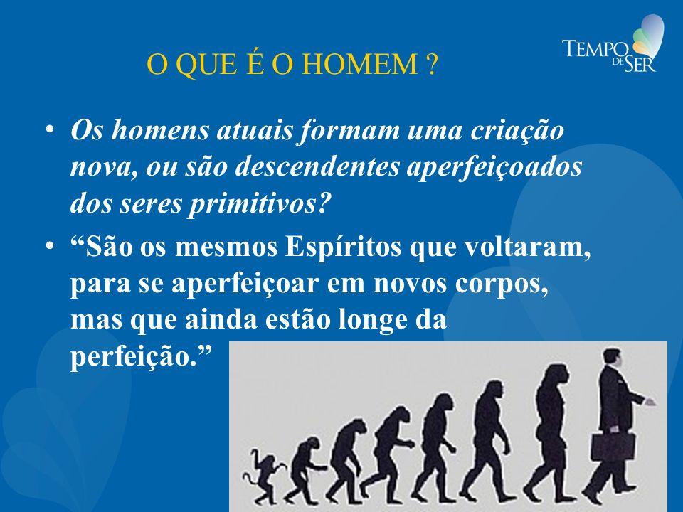 O QUE É O HOMEM ? Os homens atuais formam uma criação nova, ou são descendentes aperfeiçoados dos seres primitivos? São os mesmos Espíritos que voltar