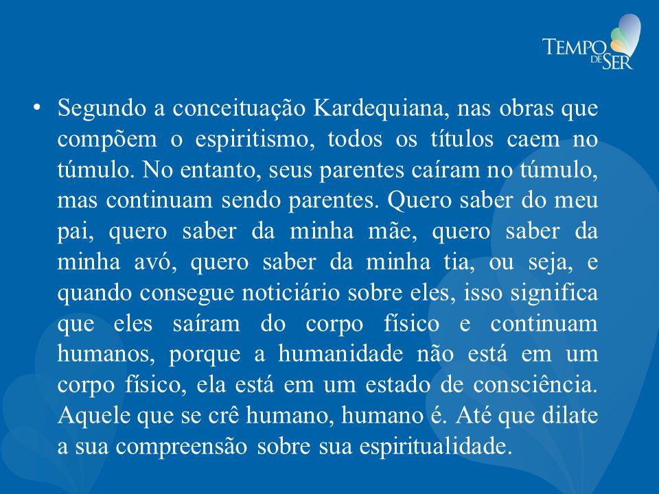 Segundo a conceituação Kardequiana, nas obras que compõem o espiritismo, todos os títulos caem no túmulo. No entanto, seus parentes caíram no túmulo,