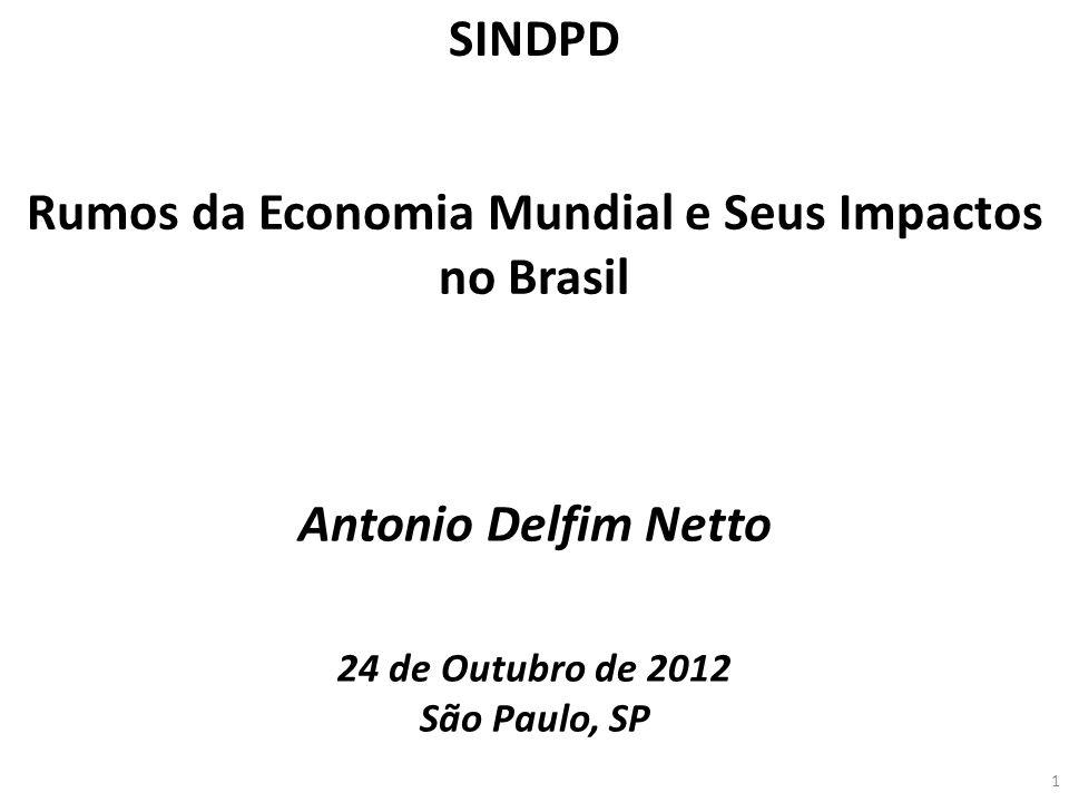 Antonio Delfim Netto 24 de Outubro de 2012 São Paulo, SP Rumos da Economia Mundial e Seus Impactos no Brasil SINDPD 1