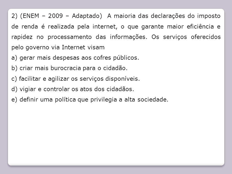 2) (ENEM – 2009 – Adaptado) A maioria das declarações do imposto de renda é realizada pela internet, o que garante maior eficiência e rapidez no proce
