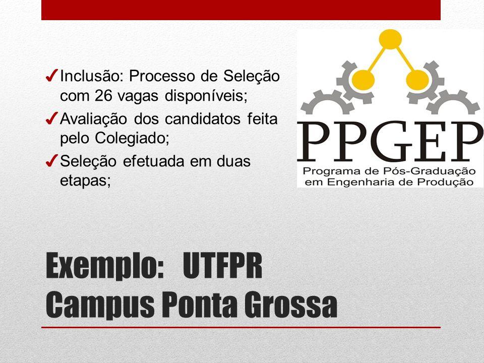Exemplo: UTFPR Campus Ponta Grossa Inclusão: Processo de Seleção com 26 vagas disponíveis; Avaliação dos candidatos feita pelo Colegiado; Seleção efetuada em duas etapas;