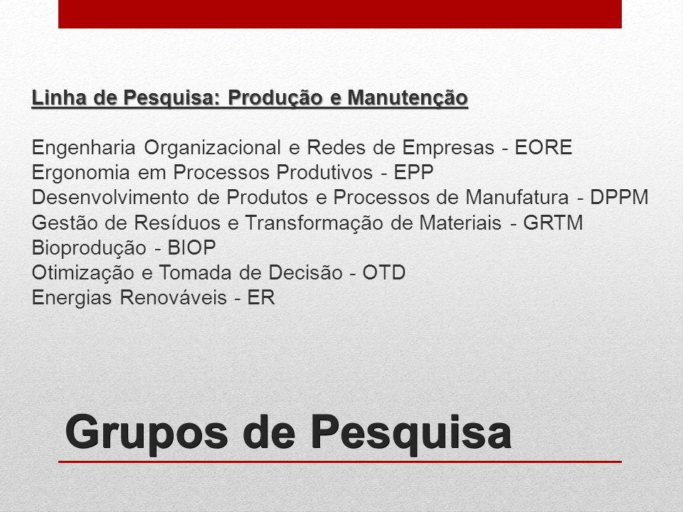 Grupos de Pesquisa Linha de Pesquisa: Produção e Manutenção Engenharia Organizacional e Redes de Empresas - EORE Ergonomia em Processos Produtivos - EPP Desenvolvimento de Produtos e Processos de Manufatura - DPPM Gestão de Resíduos e Transformação de Materiais - GRTM Bioprodução - BIOP Otimização e Tomada de Decisão - OTD Energias Renováveis - ER
