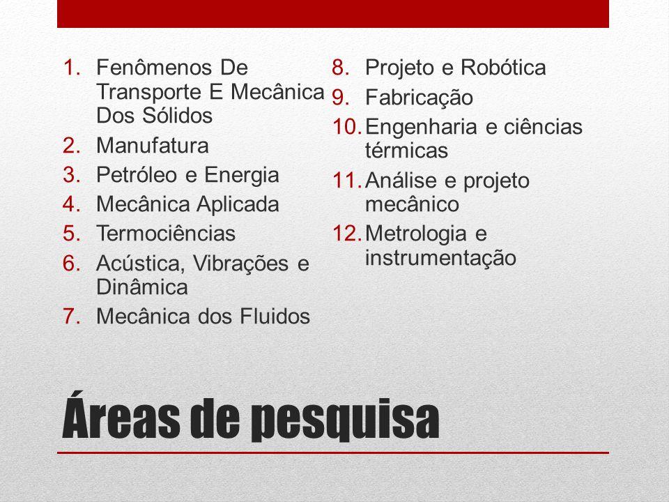 Áreas de pesquisa 1.Fenômenos De Transporte E Mecânica Dos Sólidos 2.Manufatura 3.Petróleo e Energia 4.Mecânica Aplicada 5.Termociências 6.Acústica, V