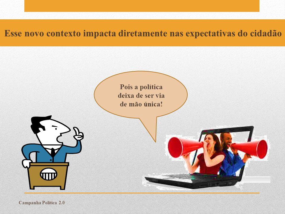 Campanha Política 2.0 Esse novo contexto impacta diretamente nas expectativas do cidadão Pois a política deixa de ser via de mão única!