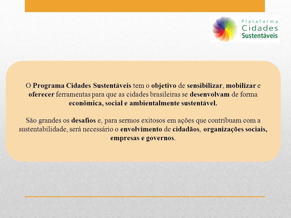 O Programa Cidades Sustentáveis tem o objetivo de sensibilizar, mobilizar e oferecer ferramentas para que as cidades brasileiras se desenvolvam de for