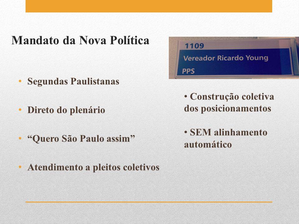 Mandato da Nova Política Segundas Paulistanas Direto do plenário Quero São Paulo assim Atendimento a pleitos coletivos Construção coletiva dos posicio