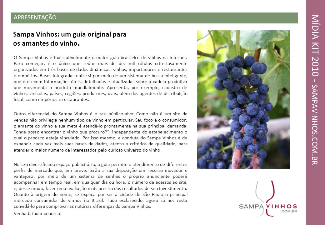 MÍDIA KIT 2010 - SAMPAVINHOS. COM. BR APRESENTAÇÃO O Sampa Vinhos é indiscutivelmente o maior guia brasileiro de vinhos na internet. Para começar, é o