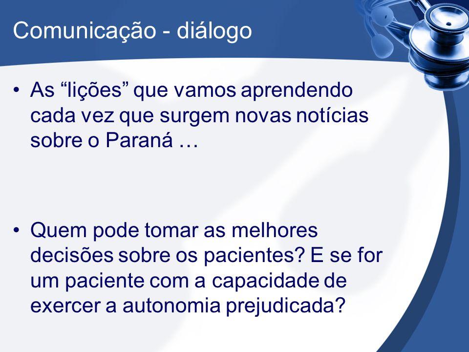 Comunicação - diálogo As lições que vamos aprendendo cada vez que surgem novas notícias sobre o Paraná … Quem pode tomar as melhores decisões sobre os