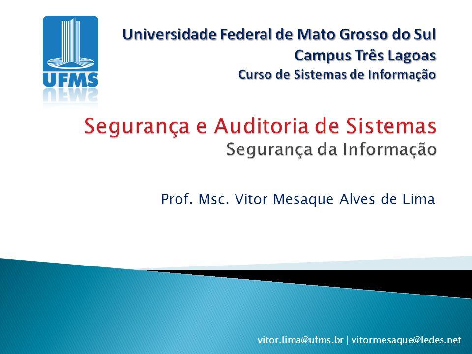 Prof. Msc. Vitor Mesaque Alves de Lima vitor.lima@ufms.br | vitormesaque@ledes.net