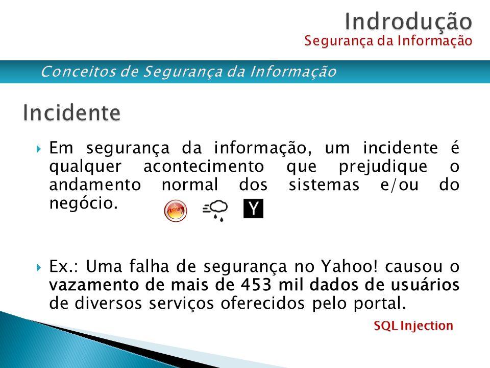 Em segurança da informação, um incidente é qualquer acontecimento que prejudique o andamento normal dos sistemas e/ou do negócio. Ex.: Uma falha de se