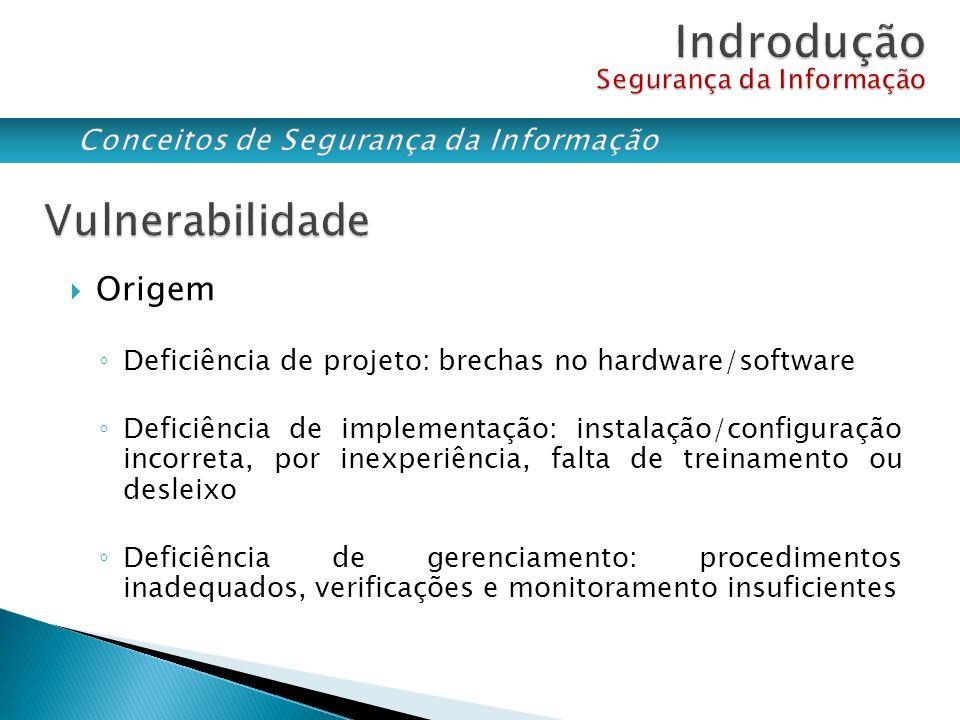 Origem Deficiência de projeto: brechas no hardware/software Deficiência de implementação: instalação/configuração incorreta, por inexperiência, falta