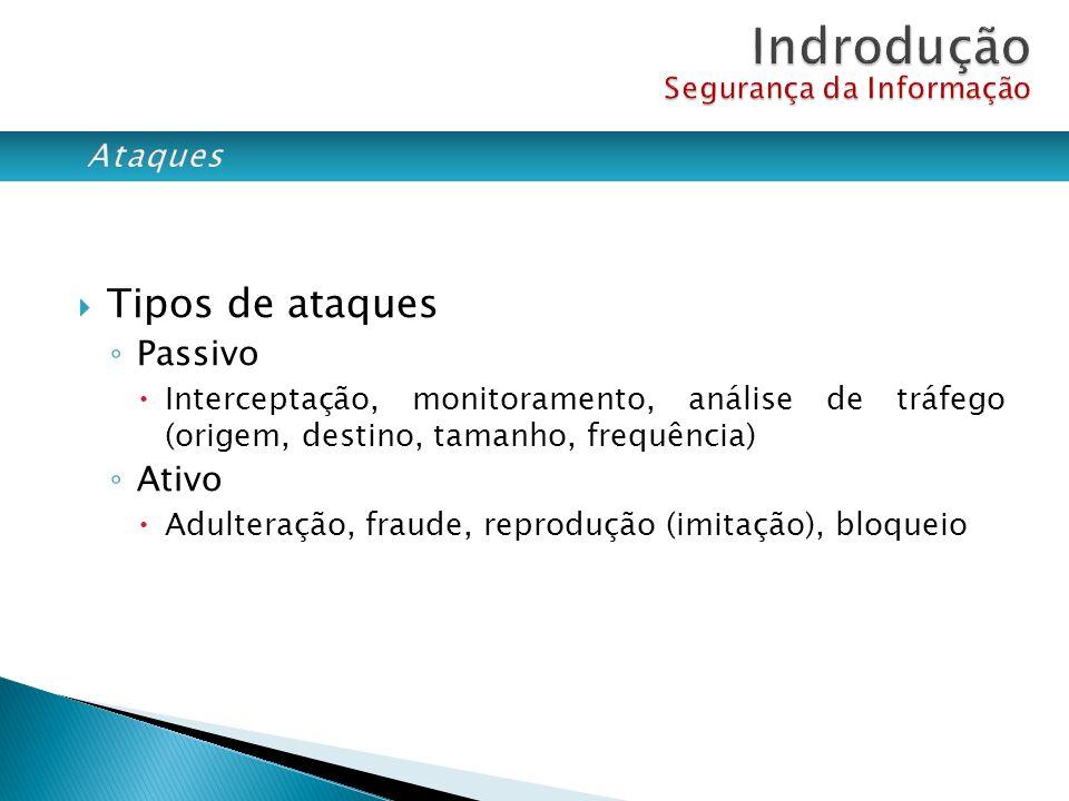 Tipos de ataques Passivo Interceptação, monitoramento, análise de tráfego (origem, destino, tamanho, frequência) Ativo Adulteração, fraude, reprodução