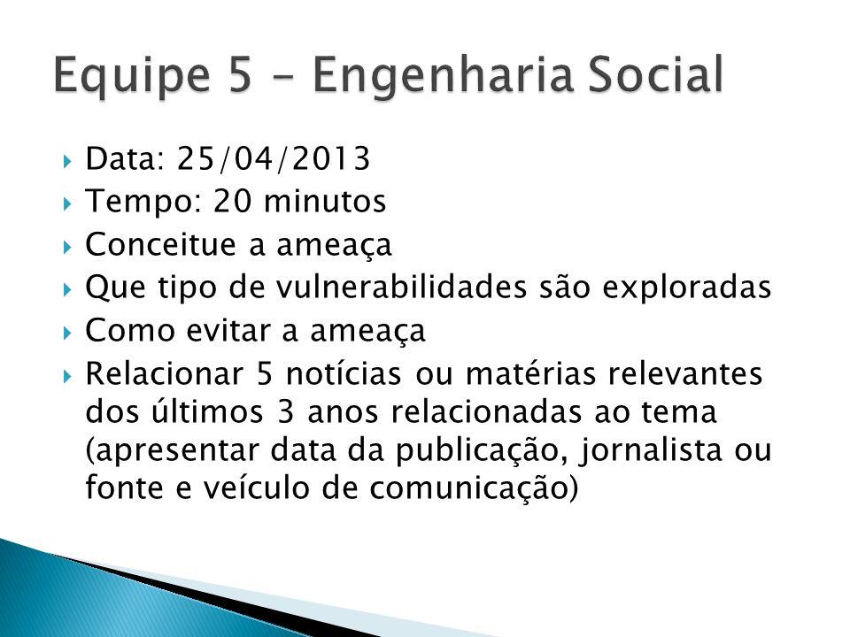 Data: 25/04/2013 Tempo: 20 minutos Conceitue a ameaça Que tipo de vulnerabilidades são exploradas Como evitar a ameaça Relacionar 5 notícias ou matéri