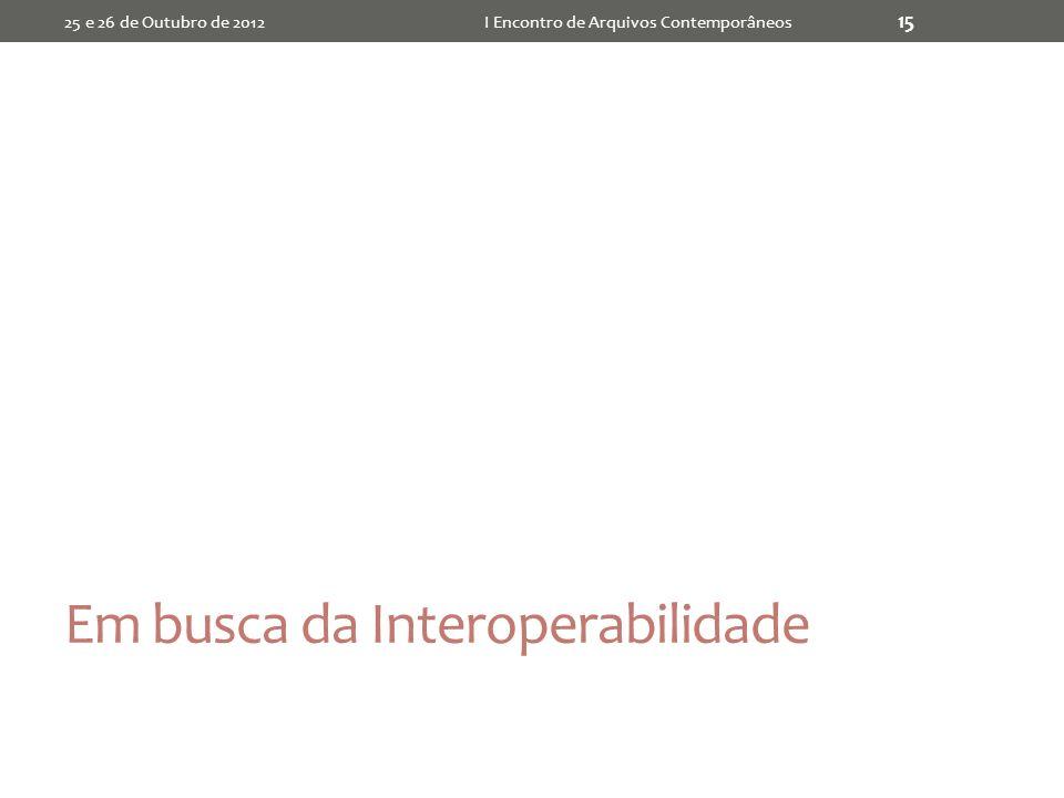 Em busca da Interoperabilidade 25 e 26 de Outubro de 2012I Encontro de Arquivos Contemporâneos 15