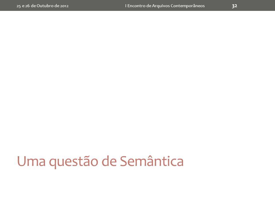 Uma questão de Semântica 25 e 26 de Outubro de 2012I Encontro de Arquivos Contemporâneos 32