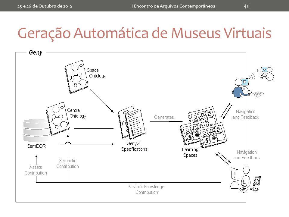 Geração Automática de Museus Virtuais 25 e 26 de Outubro de 2012I Encontro de Arquivos Contemporâneos 41