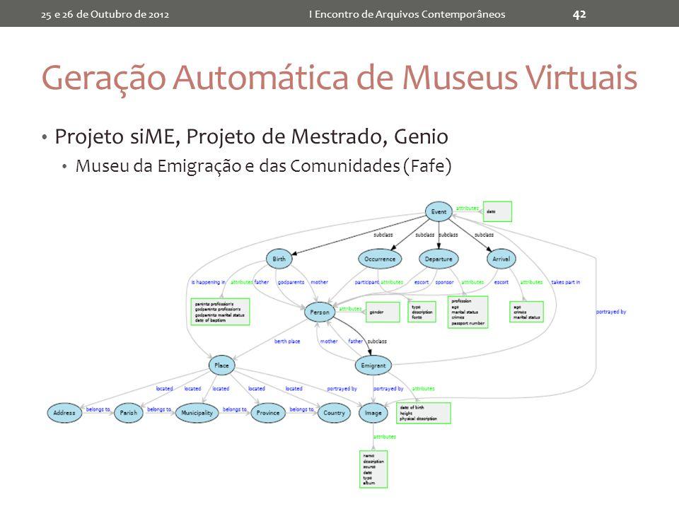 Geração Automática de Museus Virtuais Projeto siME, Projeto de Mestrado, Genio Museu da Emigração e das Comunidades (Fafe) 25 e 26 de Outubro de 2012I Encontro de Arquivos Contemporâneos 42